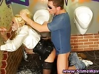 Glam slut fucking on a stranger in toilet