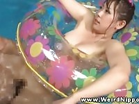 Cute asian doll fucked in the pool