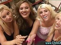 Four gorgeous babes in handjob