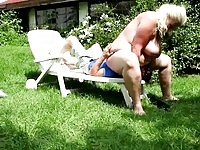 Nasty blonde BBW babe is really fond of outdoor facesitting