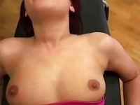 Pulled redheaded babe fucked and jerking off cock at the gym
