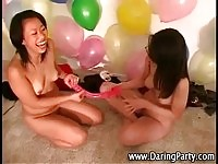 Dirty teens having fun with toys at this dare party