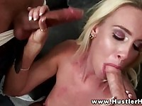 Hot double blowjob from the sexy Debbie Dial