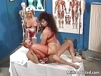 Two busty MILFs in fetish uniforms sucking and fucking this guy