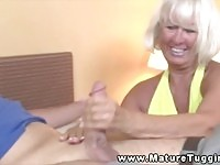 A sexy amateur granny wanking a teen
