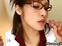 Cute japanese nurse sucking cock and facial