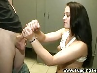 Amateur brunette teen gives a nice handjob to this lucky stud