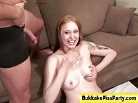 Nasty babe gets pee and hard drilling!