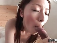 Cute japanese doll Rina Koizumi gives an amazing blowjob