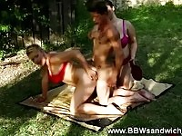 Nasty BBW threeway outdoors