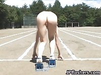 Asian teens running naked on the track