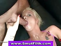 A tiny blonde slut in gang bang