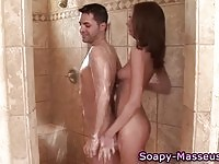 A lucky dude wanked under the shower