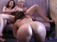 Three young lesbians eating cunt in public