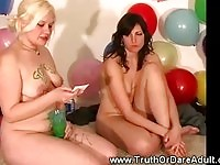 Amateur teens playing a daring game