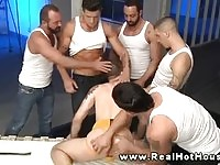 Five guys taking care of only one hunk