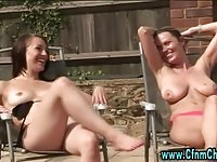 Caught jerking gets then wanked by the pool