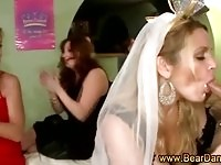 Bride sucking along her maids