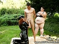 Two large BBW ladies in BDSM