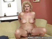 A lusty granny gets some young cock!