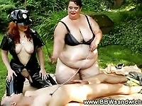 Two BBW dominas punish submissive cock