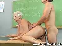 Lust mature teacher fucked in the classroom