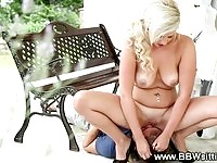 A blonde BBW beauty in face sitting