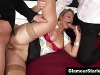 A horny blonde gets double penetration