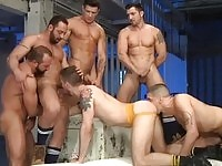 A sweet jock in gang bang action