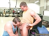 Gay stud sucking cock in a public gym