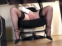 Horny secretary caught masturbating by secret cam
