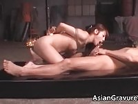Cute asian doll in some crazy bondage sex