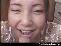 Chubby asian sucking on a dick POV style