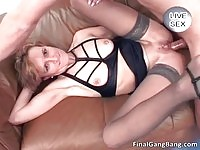 Nasty MILF gets a final gangbang