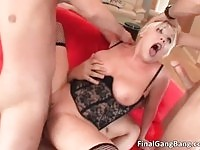 A dirty blonde whore in double penetration action