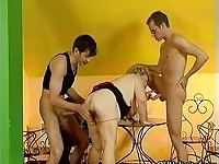 Chubby granny fucked by two young studs in a threesome