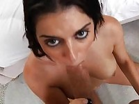 Sexy brunette babe Kodi Gamble giving head and getting nailed