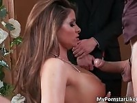 Gorgeous  Madelyn Marie sucking her husband's cock at the wedding ceremony