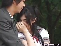 Sexy japanese schoolgirl Saori Hara gets her pussy fingered outdoors