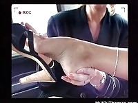 Mature lesbian, client and shoe sales agent start their love adventure in the taxi.