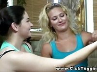 Two teen babes wanking on old cock!