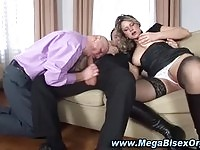Mature couple in bisexual threesome