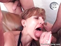 Nasty MILF enjoys milking cocks over her cookie