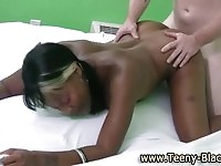 Cute ebony teen fucked by a white stud