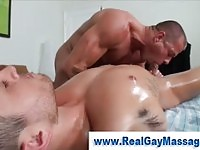 Gay jock sucking on a clients cock!