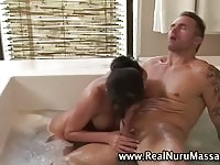 Sexy masseuse gives blowjob and full body massage