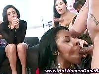 Dirty cfnm babes sucking on hard dong!