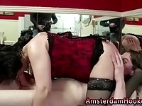 A sexy mature hooker does young cock!