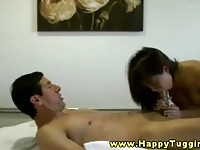 Lovely exotic masseuse sucking on her client's schlong