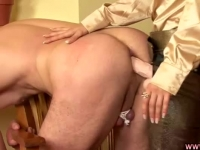 Sexy blonde domina fucking her subject's ass with her trusty strapon
